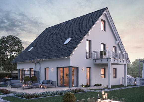Modernes, weißes Doppelhaus mit Balkon und Terrasse.