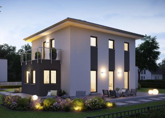 Moderne, zweigeschössige Stadtvilla mit Balkon und Terrasse.